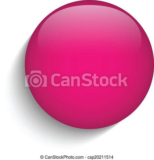 Pink Glaskreis-Taste Ikone. - csp20211514