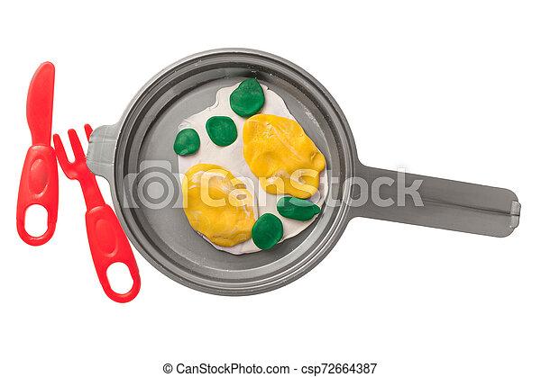plastilin, eier, gebraten, pfanne - csp72664387