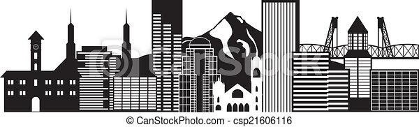 Portland oregon skyline schwarz-weiß Illustration. - csp21606116