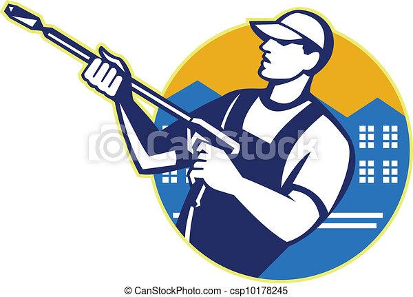 Power-Waschdruck-Wasserstrahlerarbeiter - csp10178245