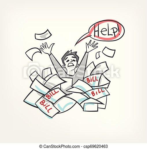 Problem mit Rechnungen Konzept vektor Illustration schreien nach Hilfe Mann. - csp69620463