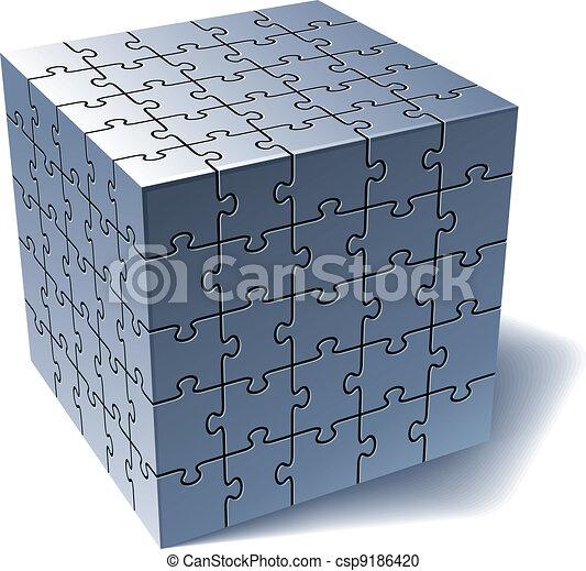 Puzzlewürfel. Alle Teile zusammen - csp9186420