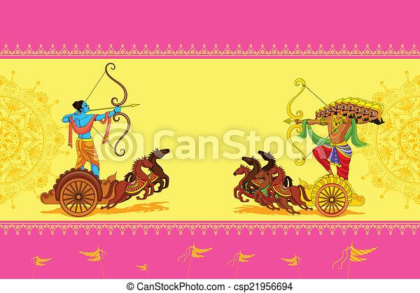Rama tötet ravana in Happy dussehra. - csp21956694