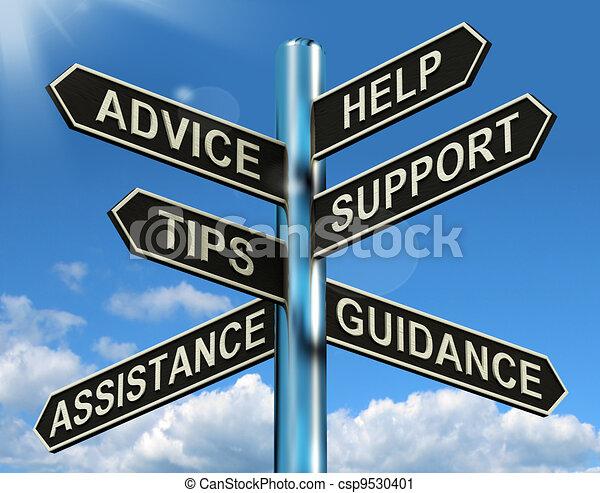 Ratgeber helfen bei der Unterstützung und dem Hinweis-Schild, zeigen Informationen und Anleitungen - csp9530401