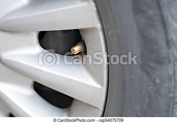 Reifen aufblasbar in einem Radwagen. - csp54075709