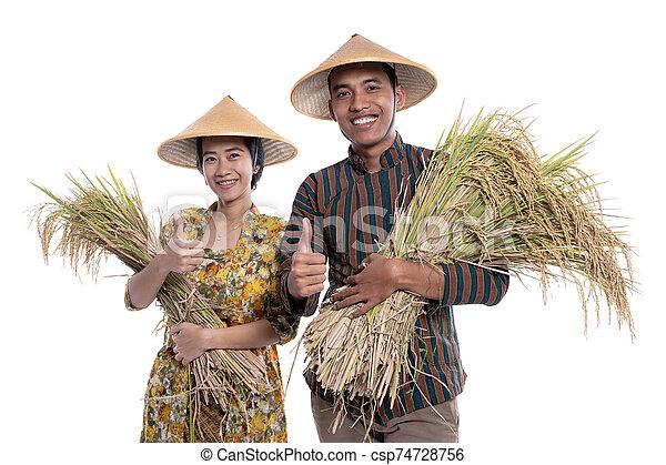 reis, traditionelle , fotoapperat, weiblicher asiat, landwirt, paddy, korn, hand, lächeln, mann - csp74728756