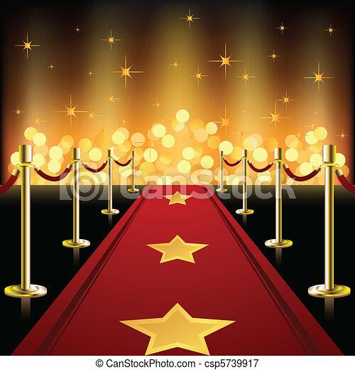 Roter Teppich mit Sternen - csp5739917