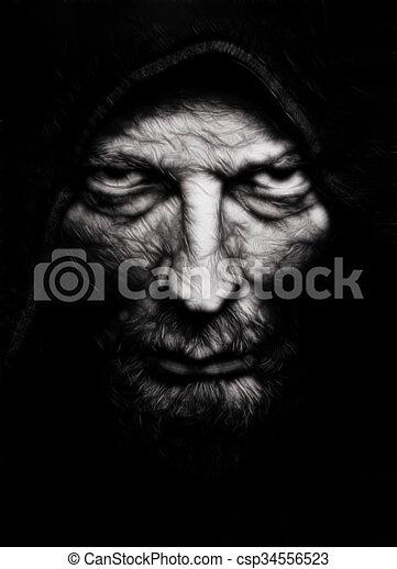 Schrecklicher, böser, runzliger Mann - csp34556523