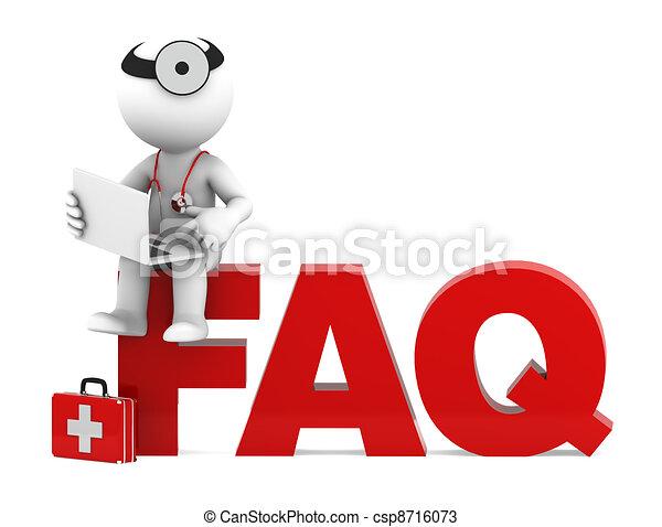 Sanitäter sitzen auf dem FAQ-Schild. Oft stellte er Fragen - csp8716073