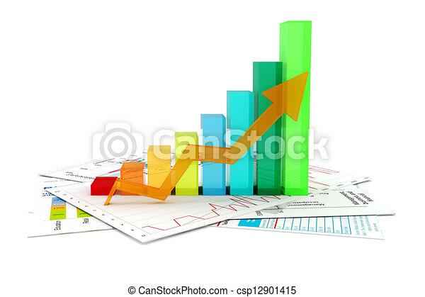 3D Geschäftsgrafen und Dokumente - csp12901415