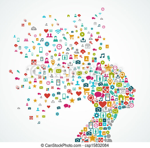 Eine frau mit einer silhouette aus sozialen medien-ikonen