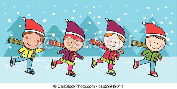 schlittschuhlaufen, kinder, eis - csp29949011