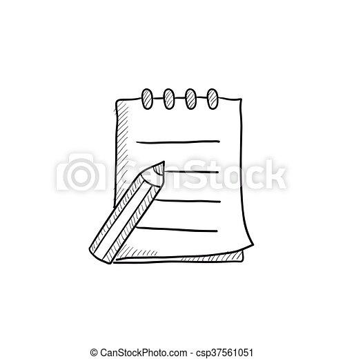 Schreibblock und Stiftzeichner. - csp37561051