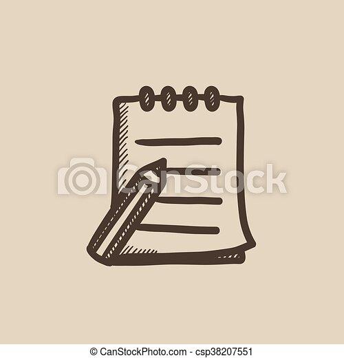 Schreibblock und Stiftzeichner. - csp38207551
