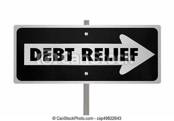 Schuldenerleichterung helfen, den Pfeil zu vergeben, 3d Abbildung. - csp49822643