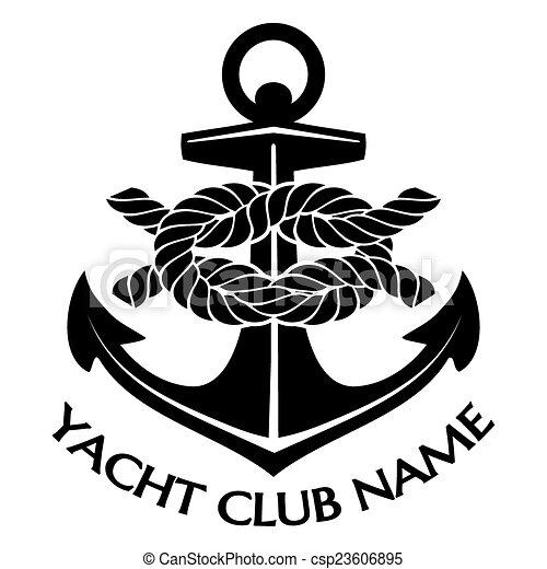 Schwarz-weiß-Yachtclub-Logo - csp23606895