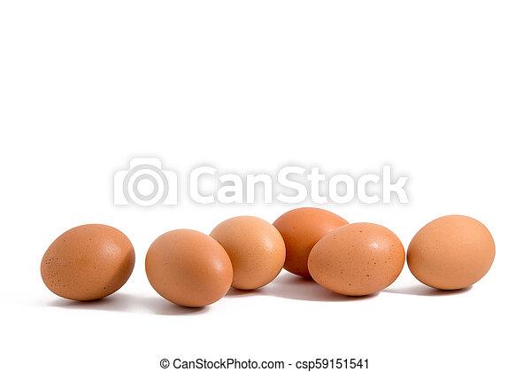 Sechs Eier hintereinander auf weißem Hintergrund. - csp59151541