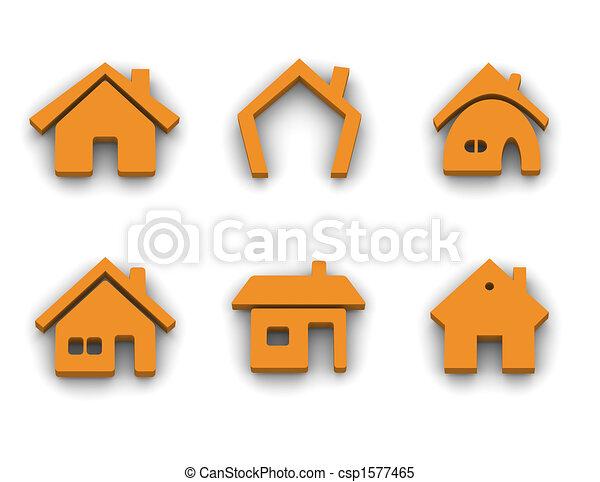 Sechs Haus-Ikonen - csp1577465