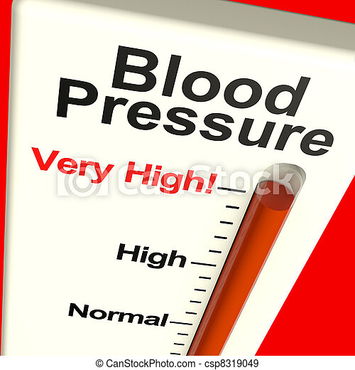 Sehr hoher Blutdruck zeigt Blutdruck und Stress - csp8319049