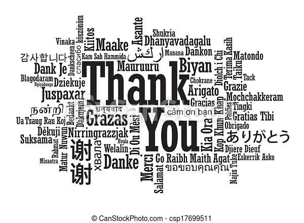 Mehrsprachige Dankeswort Wolke - csp17699511