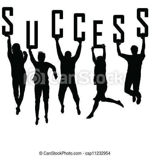 Erfolgskonzept mit jungen Teamsilhouettes - csp11232954