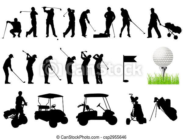 silhouetten, golfen, maenner, spielende  - csp2955646