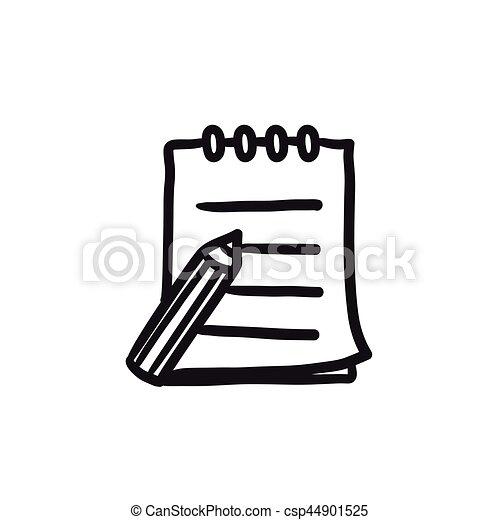 skizze- auflage, stift, icon., schreibende - csp44901525