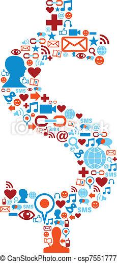 Soziale Medien-Ikonen sind ein Dollar-Symbol - csp7551777