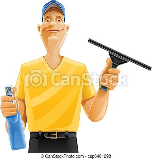 Ein Mann, der Fensterspray reinigt - csp6481298