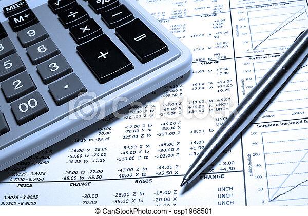 stahl, finanziell, taschenrechner, graphs., stift, daten - csp1968501