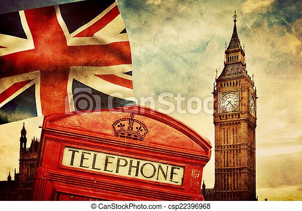 Symbole von London, England, Großbritannien. Rote Telefonzelle, Big Ben, die Gewerkschaftsfahne - csp22396968