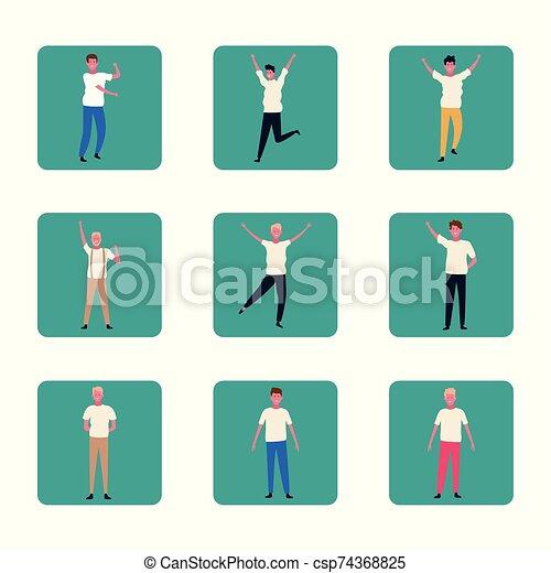 tanzende menschen, satz, bunte, spaß haben, design - csp74368825