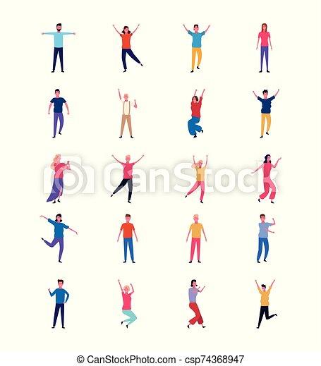 tanzende menschen, satz, spaß haben - csp74368947
