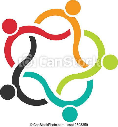 Teamwork Wave 5 Logo von Menschen. - csp19808359