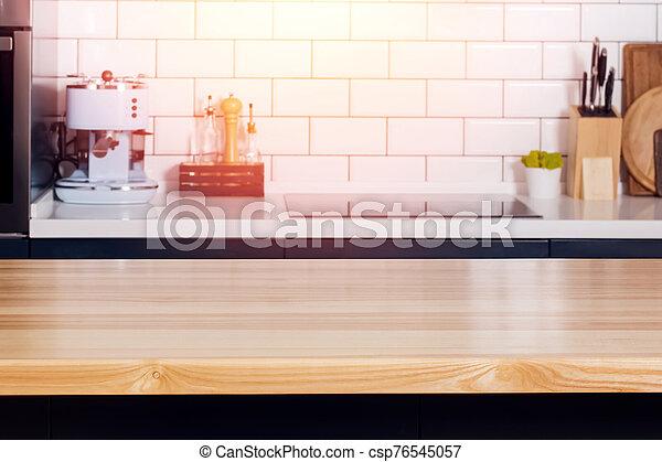 tisch, modern, kueche , hölzern, bankschalter, auf, oberseite, schließen, oder, kugel - csp76545057