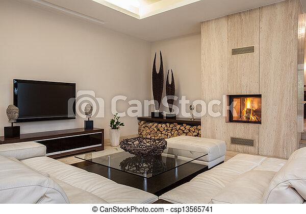 Travertine-Haus: helles Innere - csp13565741
