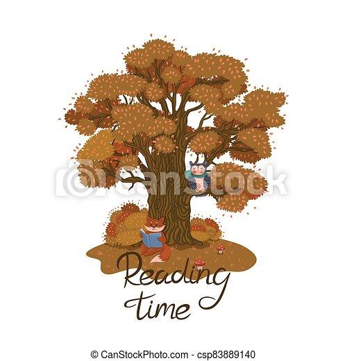 unter, fuchs, time., vektor, baum, inschrift, graphics., herbst, buch, lesende  - csp83889140