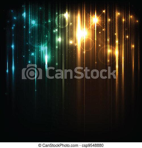 Vector Hintergrund mit hellen magischen Lichtern und Sternen - csp9548880