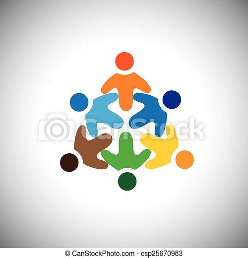 Vector Ikone von glücklichen, aufgeregten, fröhlichen Menschen Kreis - csp25670983
