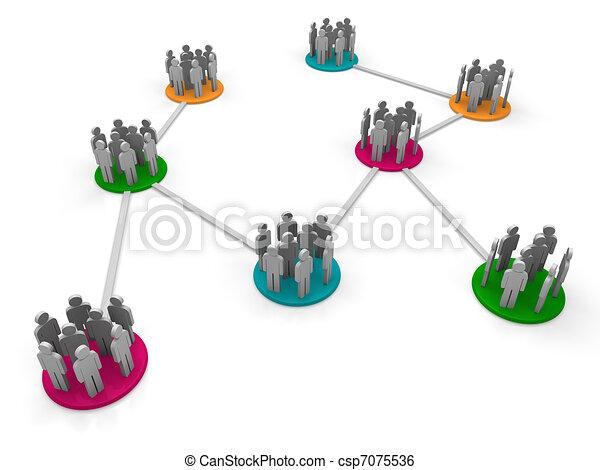 vernetzung, mannschaft, 3d - csp7075536