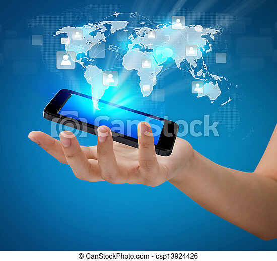 vernetzung, weisen, bewegliche kommunikation, modern, hand, telefon, besitz, sozial, technologie - csp13924426