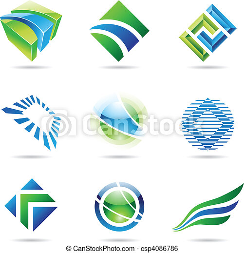 Verschiedene grüne und blaue abstrakte Symbole, Satz 1. - csp4086786