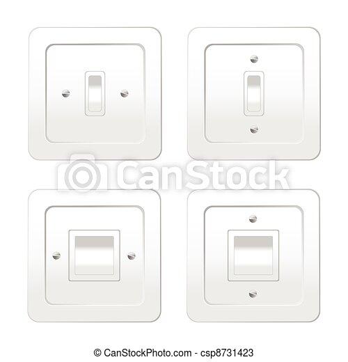 Vier Schalter für Lichtvektor Illustration - csp8731423