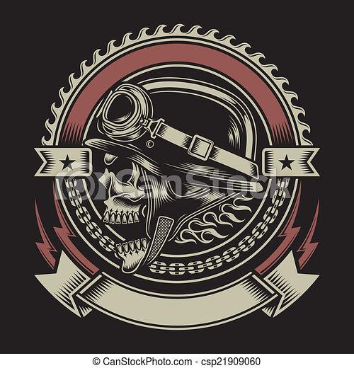 Vintage Biker Schädel Emblem. - csp21909060
