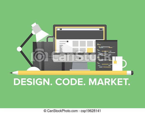 Website-Programmierungsmanagement flache Illustration - csp19628141
