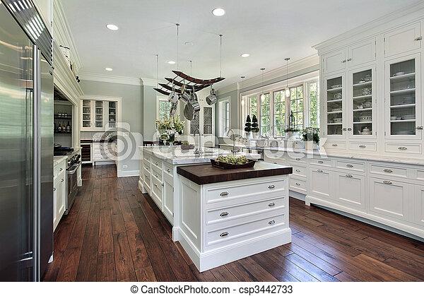 Küche mit weißem Schrank - csp3442733