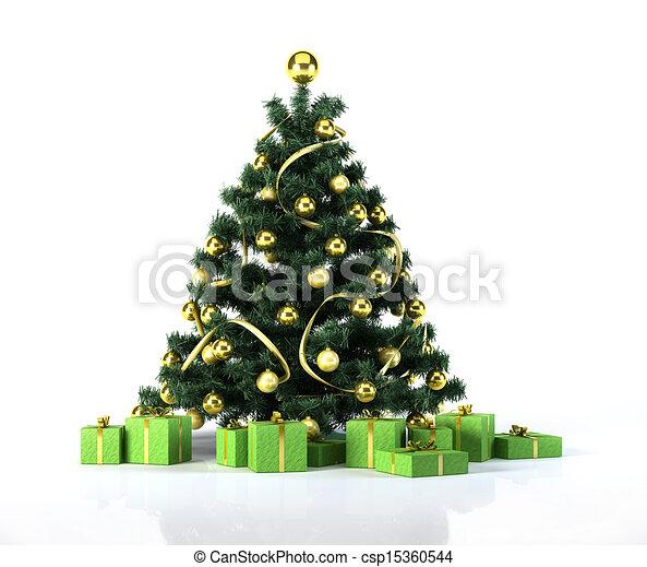 Weihnachtsbaum mit goldenen Bällen und Dekoration. Da drunter - csp15360544
