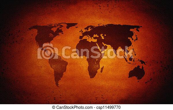 Heiße Weltkarte, globale Erwärmung - csp11499770