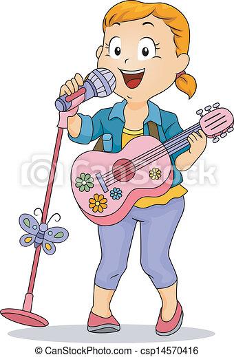 wenig, spielzeug, verrichtung, mikrophon, gitarre, gebrauchend, m�dchen, kind - csp14570416