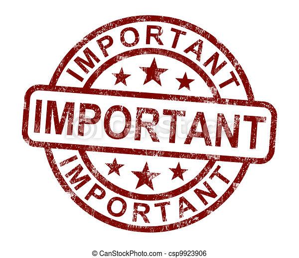 Wichtiger Stempel zeigt kritische Informationen oder Dokumente. - csp9923906